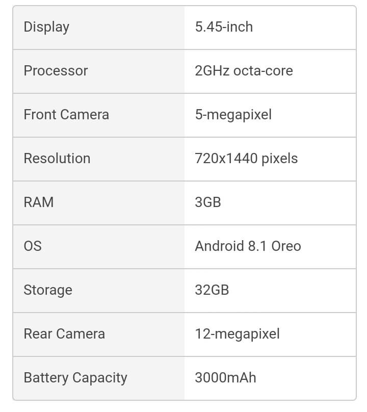 Redmi 6 specifications